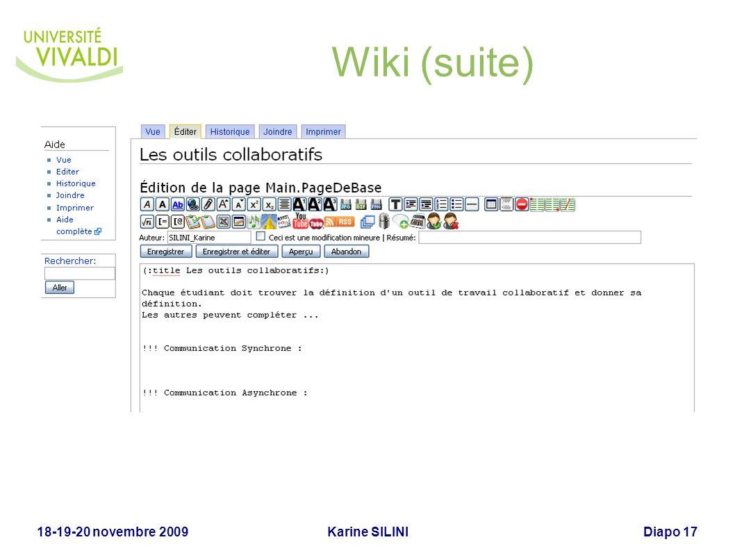 Karine SILINI18-19-20 novembre 2009Diapo 18 Wiki (suite)