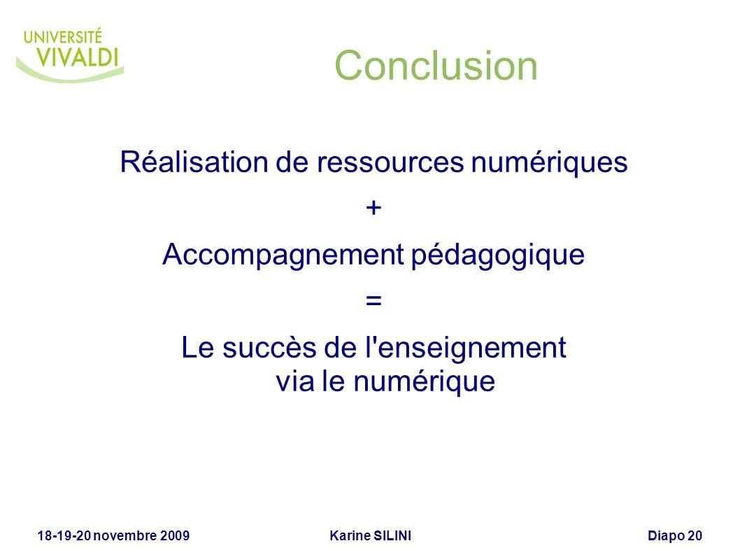 Karine SILINI18-19-20 novembre 2009Diapo 20 Conclusion Réalisation de ressources numériques + Accompagnement pédagogique = Le succès de l'enseignement