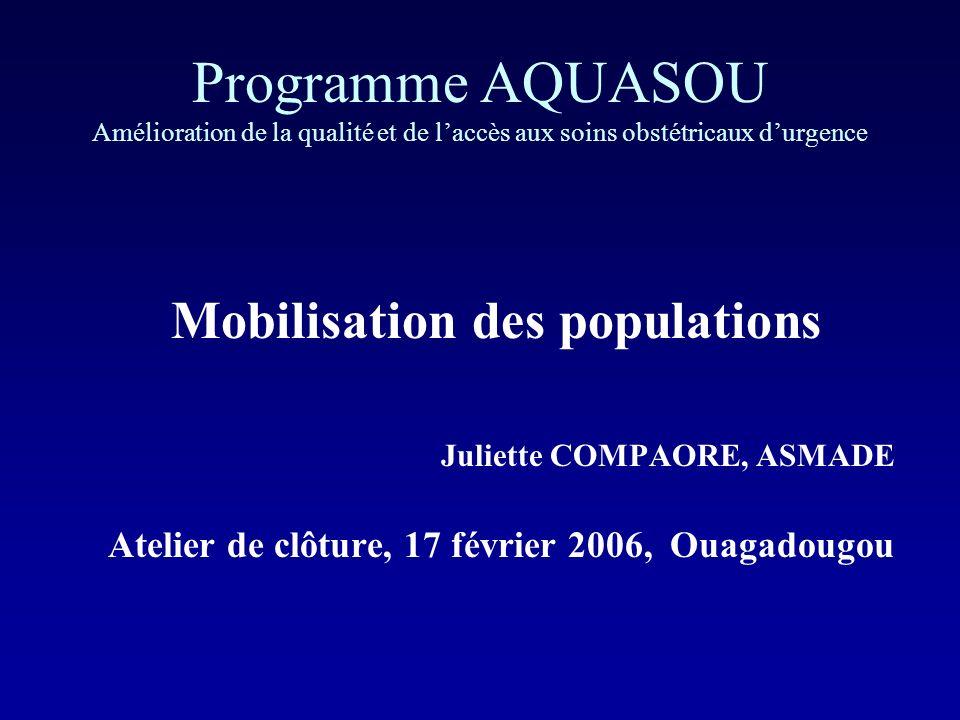 Programme AQUASOU Amélioration de la qualité et de laccès aux soins obstétricaux durgence Mobilisation des populations Juliette COMPAORE, ASMADE Atelier de clôture, 17 février 2006, Ouagadougou