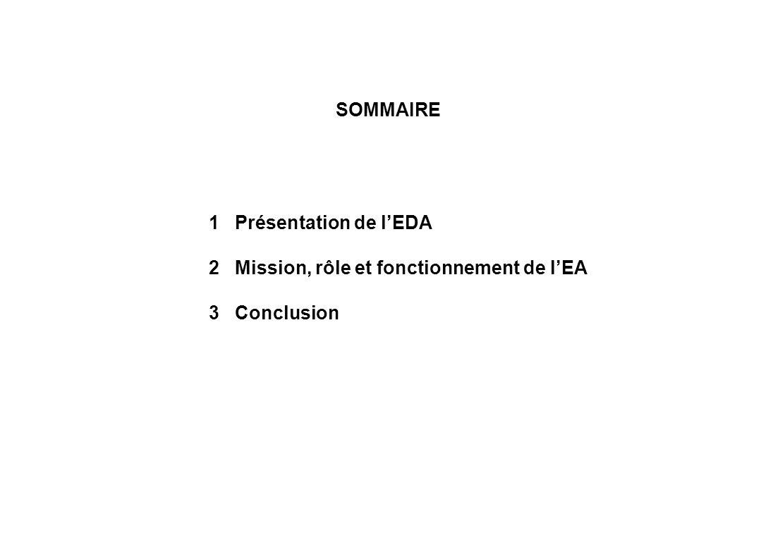 SOMMAIRE 1 Présentation de lEDA 2 Mission, rôle et fonctionnement de lEA 3 Conclusion