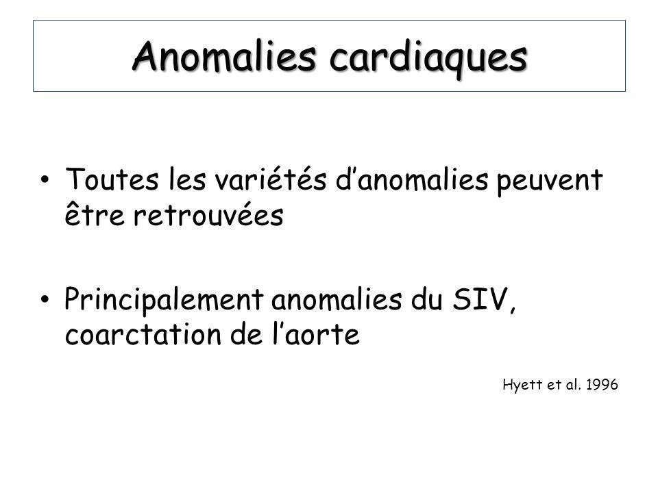 Anomalies cardiaques Toutes les variétés danomalies peuvent être retrouvées Principalement anomalies du SIV, coarctation de laorte Hyett et al. 1996