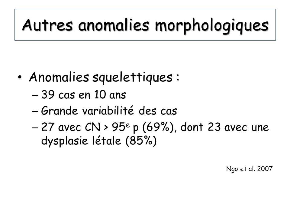 Autres anomalies morphologiques Anomalies squelettiques : – 39 cas en 10 ans – Grande variabilité des cas – 27 avec CN > 95 e p (69%), dont 23 avec un