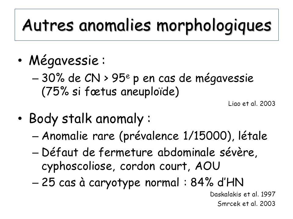 Autres anomalies morphologiques Mégavessie : – 30% de CN > 95 e p en cas de mégavessie (75% si fœtus aneuploïde) Liao et al. 2003 Body stalk anomaly :