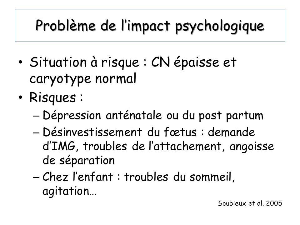 Problème de limpact psychologique Situation à risque : CN épaisse et caryotype normal Risques : – Dépression anténatale ou du post partum – Désinvesti