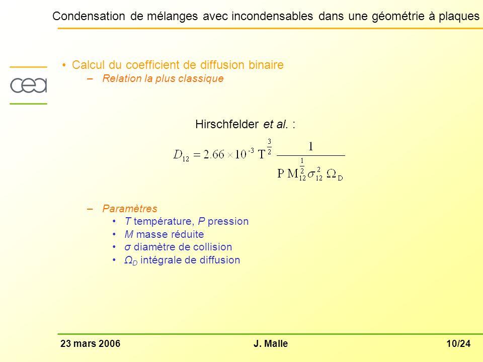 10/2423 mars 2006J. Malle Condensation de mélanges avec incondensables dans une géométrie à plaques Calcul du coefficient de diffusion binaire –Relati