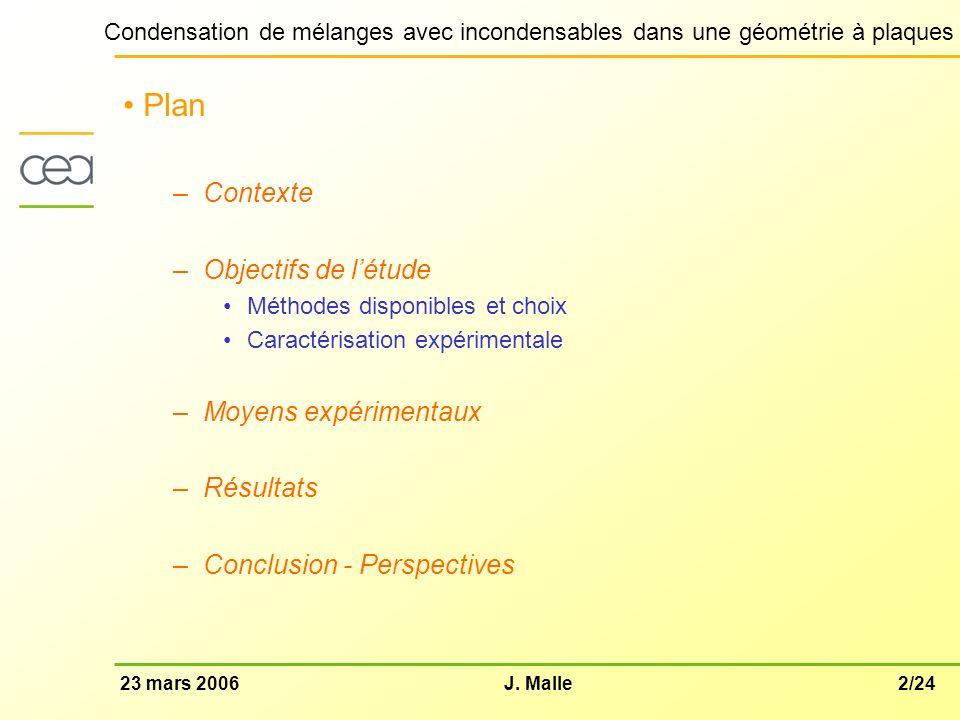 2/2423 mars 2006J. Malle Condensation de mélanges avec incondensables dans une géométrie à plaques Plan –Contexte –Objectifs de létude Méthodes dispon