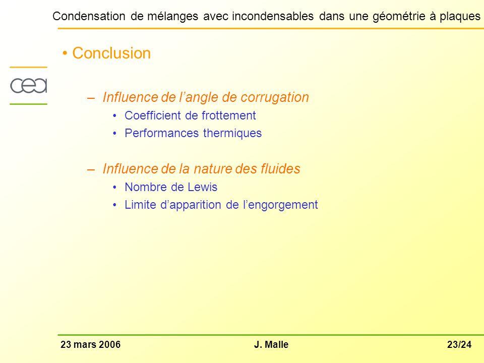 23/2423 mars 2006J. Malle Condensation de mélanges avec incondensables dans une géométrie à plaques Conclusion –Influence de langle de corrugation Coe
