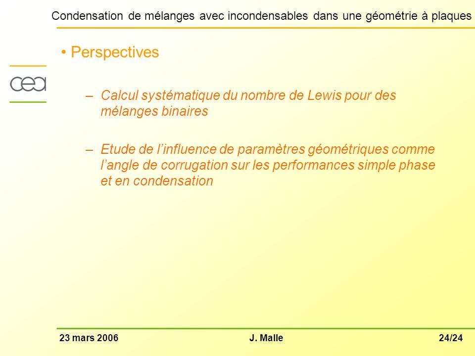 24/2423 mars 2006J. Malle Condensation de mélanges avec incondensables dans une géométrie à plaques Perspectives –Calcul systématique du nombre de Lew