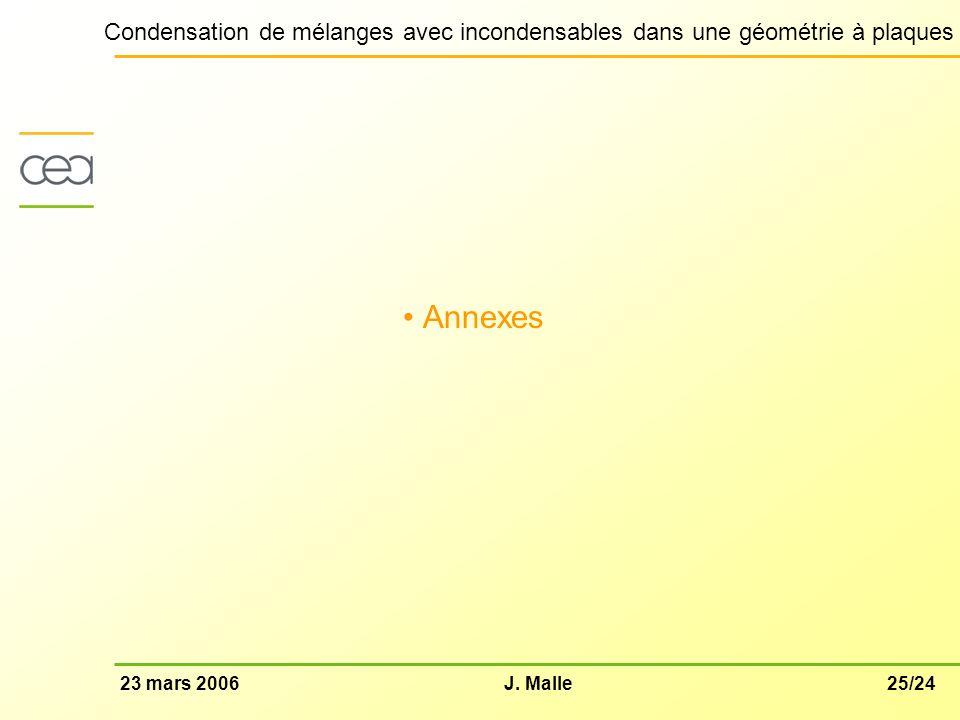 25/2423 mars 2006J. Malle Condensation de mélanges avec incondensables dans une géométrie à plaques Annexes