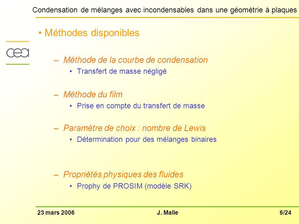 6/2423 mars 2006J. Malle Condensation de mélanges avec incondensables dans une géométrie à plaques Méthodes disponibles –Méthode de la courbe de conde