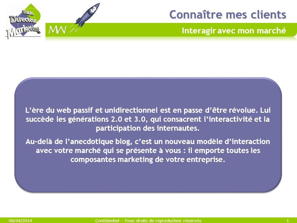 Connaître mes clients Connaître mes clients Interagir avec mon marché 08/04/2014Confidentiel - Tous droits de reproduction réservés1 Lère du web passif et unidirectionnel est en passe dêtre révolue.