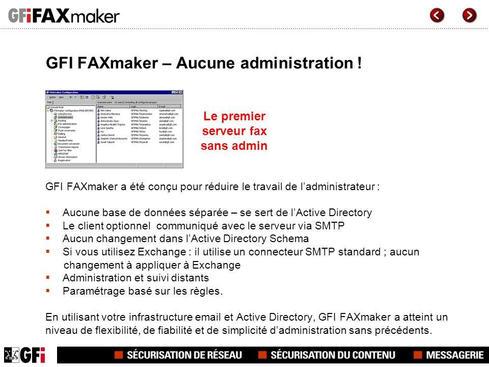 GFI FAXmaker – Aucune administration ! GFI FAXmaker a été conçu pour réduire le travail de ladministrateur : Aucune base de données séparée – se sert