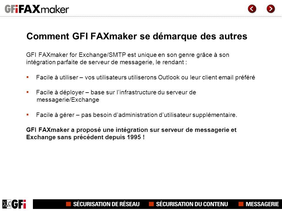 Comment GFI FAXmaker se démarque des autres GFI FAXmaker for Exchange/SMTP est unique en son genre grâce à son intégration parfaite de serveur de mess
