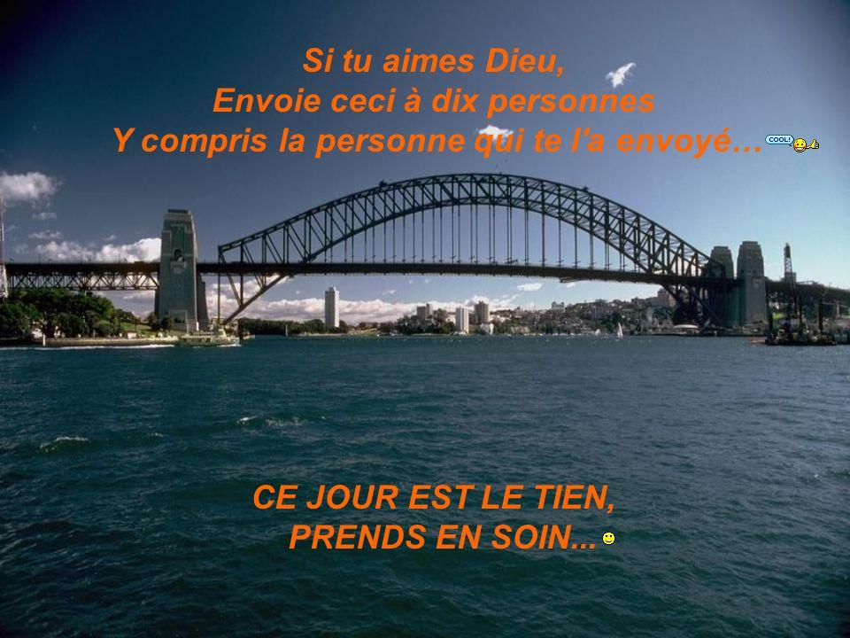 Si tu aimes Dieu, Envoie ceci à dix personnes Y compris la personne qui te l'a envoyé… CE JOUR EST LE TIEN, PRENDS EN SOIN...