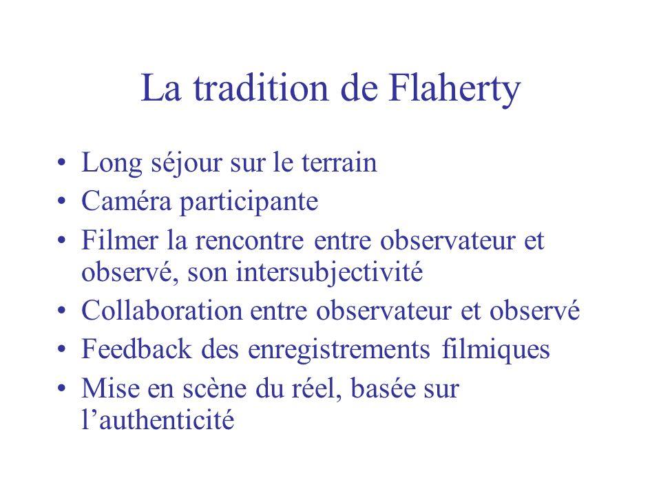 La tradition de Flaherty Long séjour sur le terrain Caméra participante Filmer la rencontre entre observateur et observé, son intersubjectivité Collab