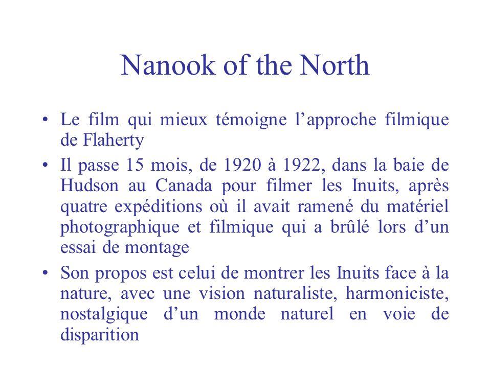 La méthode Flaherty observe dabord la vie de Nanook et de sa famille, en vivant longtemps avec eux Flaherty ne filme pas Nanook à la trace, mais engage avec lui un dialogue, lui demande de collaborer étroitement au portrait ethno-sociologique quil entreprend Avant de filmer, il crée avec la collaboration de Nanook et de sa famille un scénario
