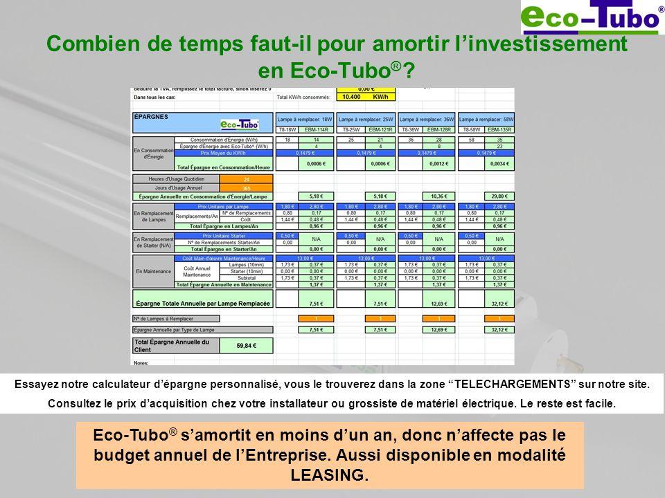 Combien de temps faut-il pour amortir linvestissement en Eco-Tubo ® ? Eco-Tubo ® samortit en moins dun an, donc naffecte pas le budget annuel de lEntr
