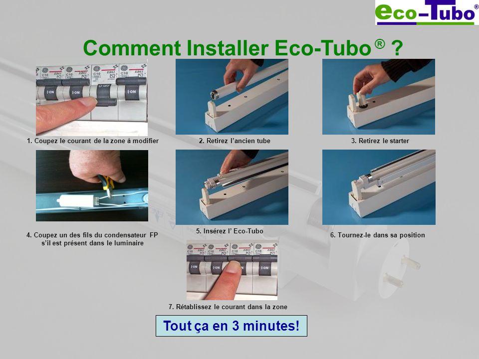 Comment Installer Eco-Tubo ® ? 1. Coupez le courant de la zone à modifier2. Retirez lancien tube3. Retirez le starter 5. Insérez l Eco-Tubo 6. Tournez