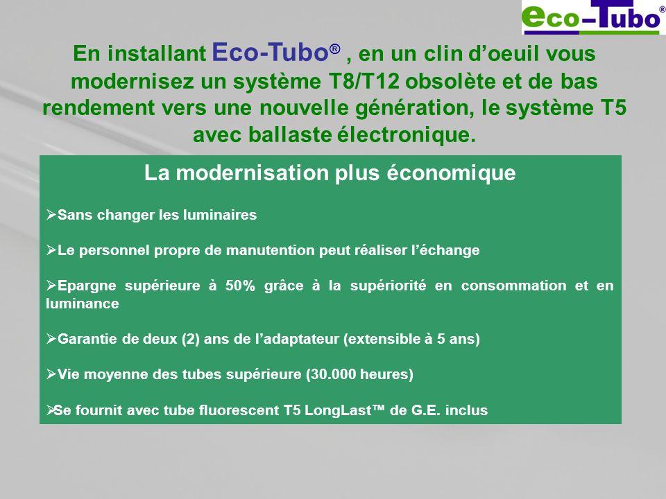 En installant Eco-Tubo ®, en un clin doeuil vous modernisez un système T8/T12 obsolète et de bas rendement vers une nouvelle génération, le système T5