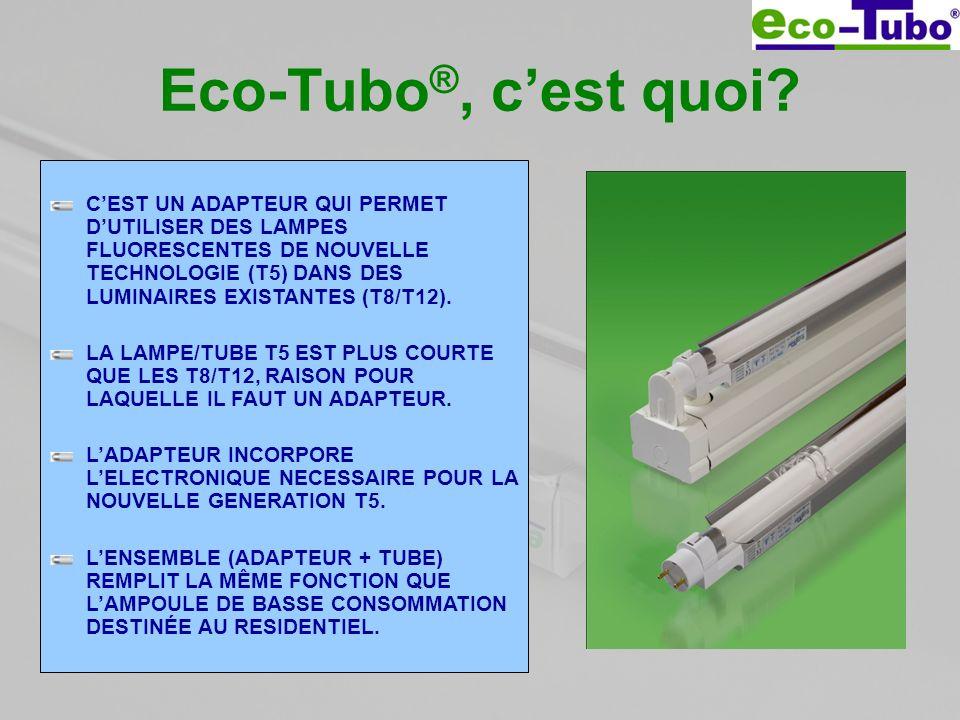 Eco-Tubo ®, cest quoi? CEST UN ADAPTEUR QUI PERMET DUTILISER DES LAMPES FLUORESCENTES DE NOUVELLE TECHNOLOGIE (T5) DANS DES LUMINAIRES EXISTANTES (T8/