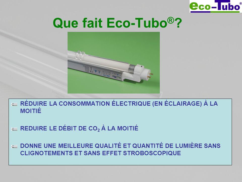Que fait Eco-Tubo ® ? RÉDUIRE LA CONSOMMATION ÉLECTRIQUE (EN ÉCLAIRAGE) À LA MOITIÉ REDUIRE LE DÉBIT DE CO 2 À LA MOITIÉ DONNE UNE MEILLEURE QUALITÉ E