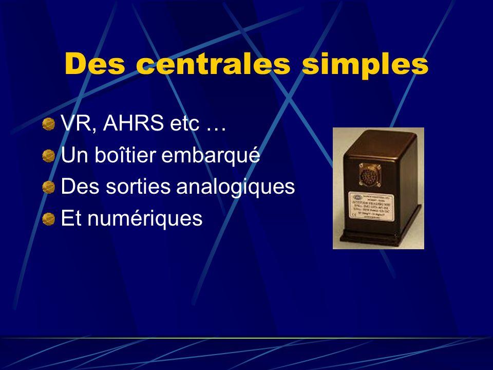 Des centrales simples VR, AHRS etc … Un boîtier embarqué Des sorties analogiques Et numériques