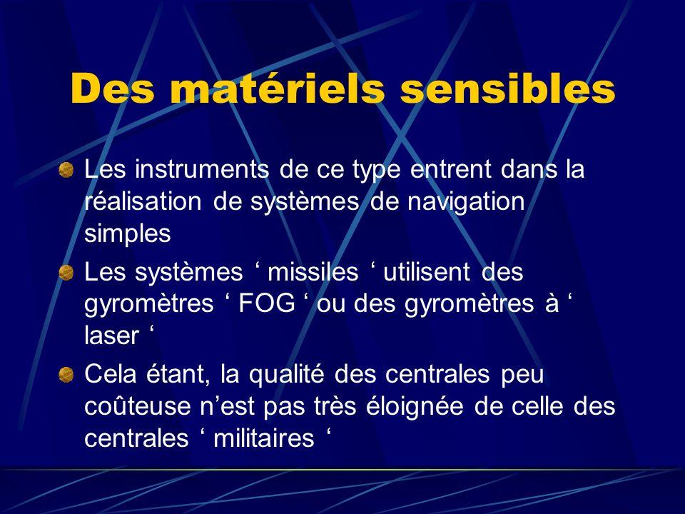 Définitions Les centrales de verticales, centrales à inertie et centrales dattitude sont des instruments permettant des mesures de vitesses angulaires, daccélération et dangles sur un vecteur mobile