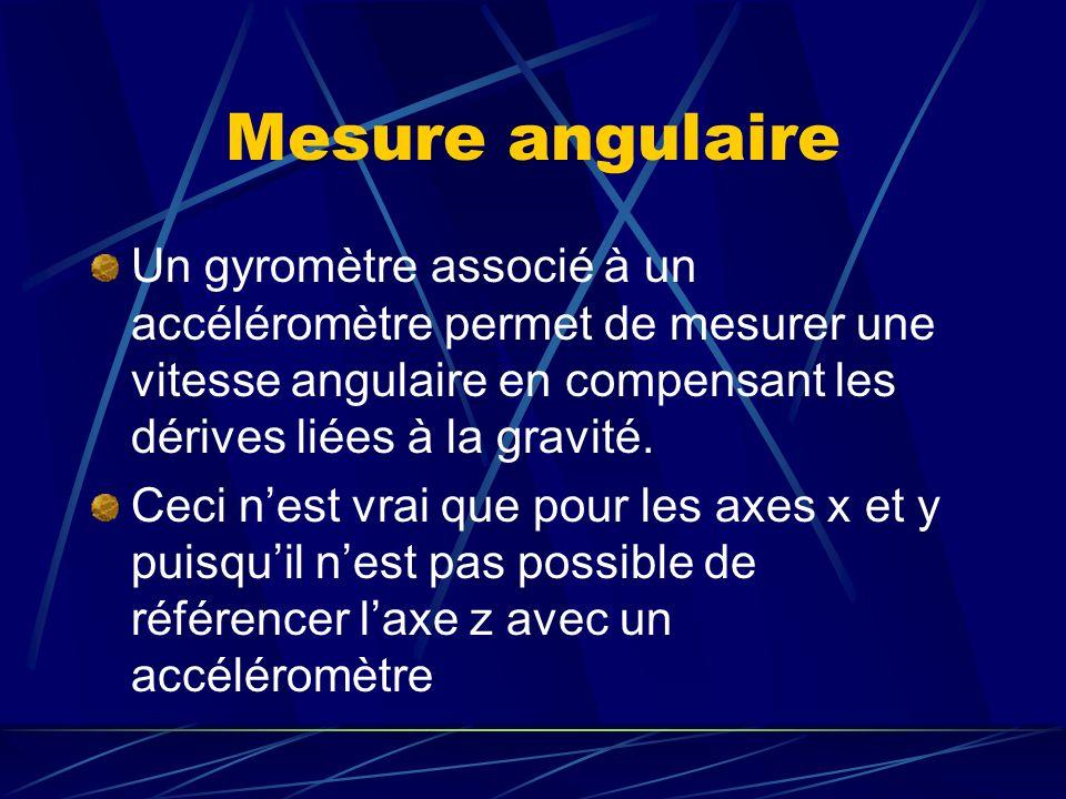 Mesure angulaire Un gyromètre associé à un accéléromètre permet de mesurer une vitesse angulaire en compensant les dérives liées à la gravité.