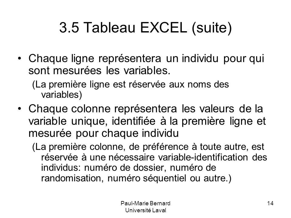 Paul-Marie Bernard Université Laval 14 3.5 Tableau EXCEL (suite) Chaque ligne représentera un individu pour qui sont mesurées les variables. (La premi