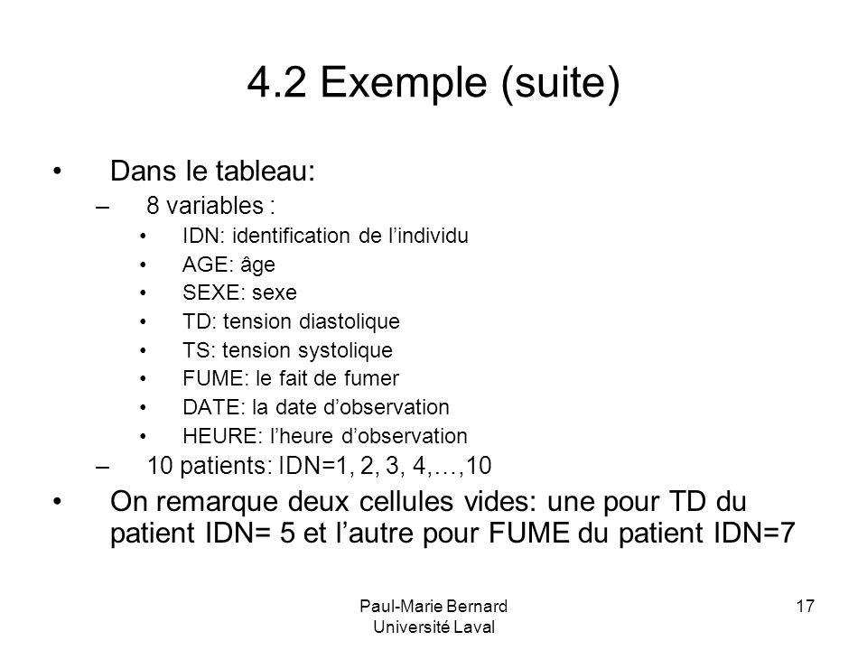 Paul-Marie Bernard Université Laval 17 4.2 Exemple (suite) Dans le tableau: –8 variables : IDN: identification de lindividu AGE: âge SEXE: sexe TD: te