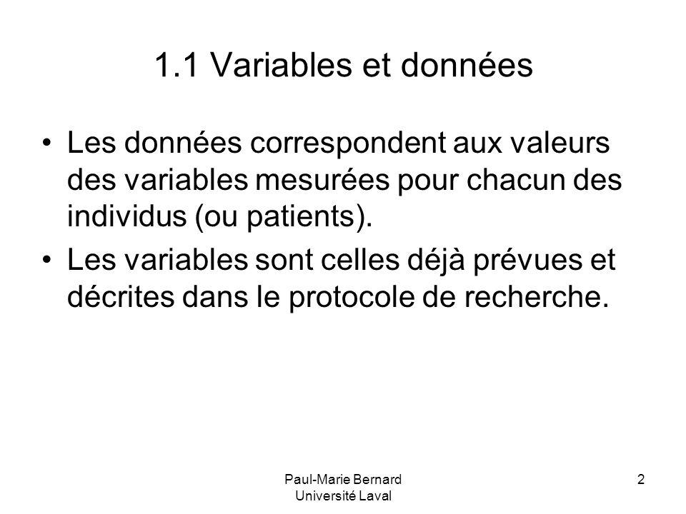 Paul-Marie Bernard Université Laval 2 1.1 Variables et données Les données correspondent aux valeurs des variables mesurées pour chacun des individus