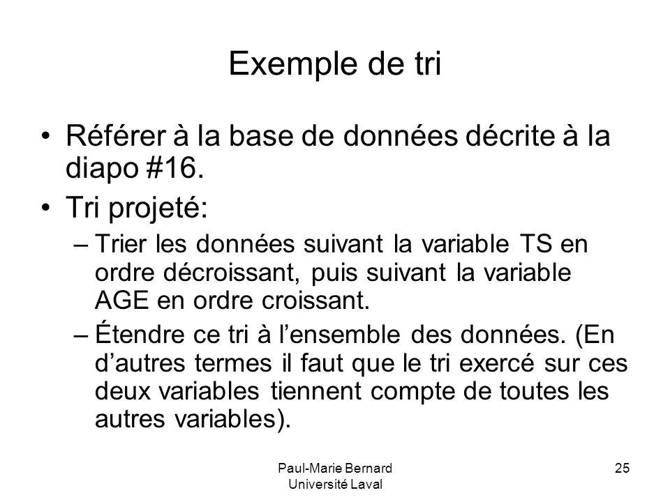 Paul-Marie Bernard Université Laval 25 Exemple de tri Référer à la base de données décrite à la diapo #16. Tri projeté: –Trier les données suivant la