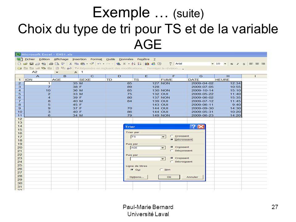 Paul-Marie Bernard Université Laval 27 Exemple … (suite) Choix du type de tri pour TS et de la variable AGE