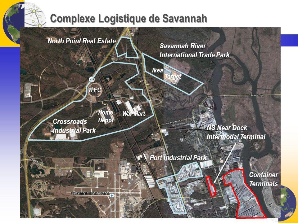 Complexe Logistique de Savannah NS Near Dock Intermodal Terminal ContainerTerminals Port Industrial Park Crossroads Industrial Park HomeDepot Wal-Mart