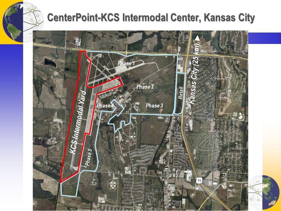 CenterPoint-KCS Intermodal Center, Kansas City KCS Intermodal Yard Retail Phase 1 Phase 2 Phase 3 Phase 4 Phase 5 Kansas City (25 km) Kansas City (25