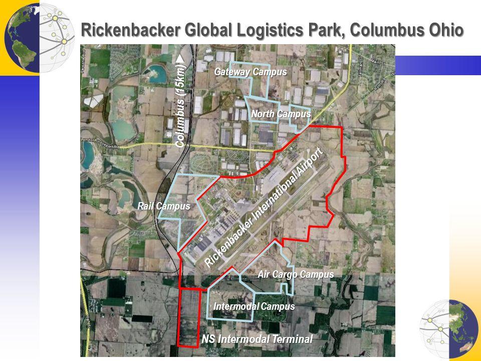 Rickenbacker Global Logistics Park, Columbus Ohio NS Intermodal Terminal Columbus (15km) Rickenbacker International Airport Intermodal Campus Rail Cam