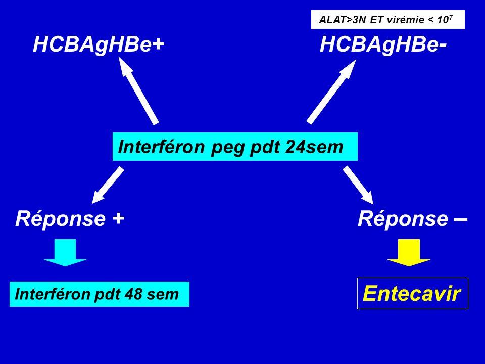 HCBAgHBe+ HCBAgHBe - Réponse + Réponse – Interféron peg pdt 24sem ALAT>3N ET virémie < 10 7 Interféron pdt 48 sem Entecavir