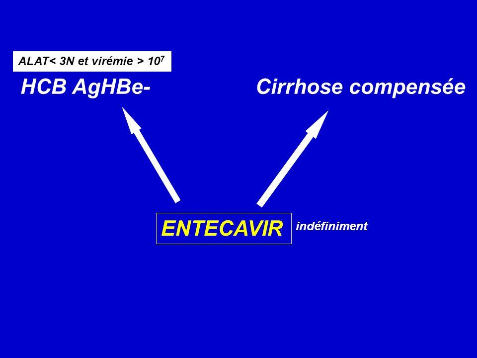 HCB AgHBe- Cirrhose compensée ALAT 10 7 ENTECAVIR indéfiniment