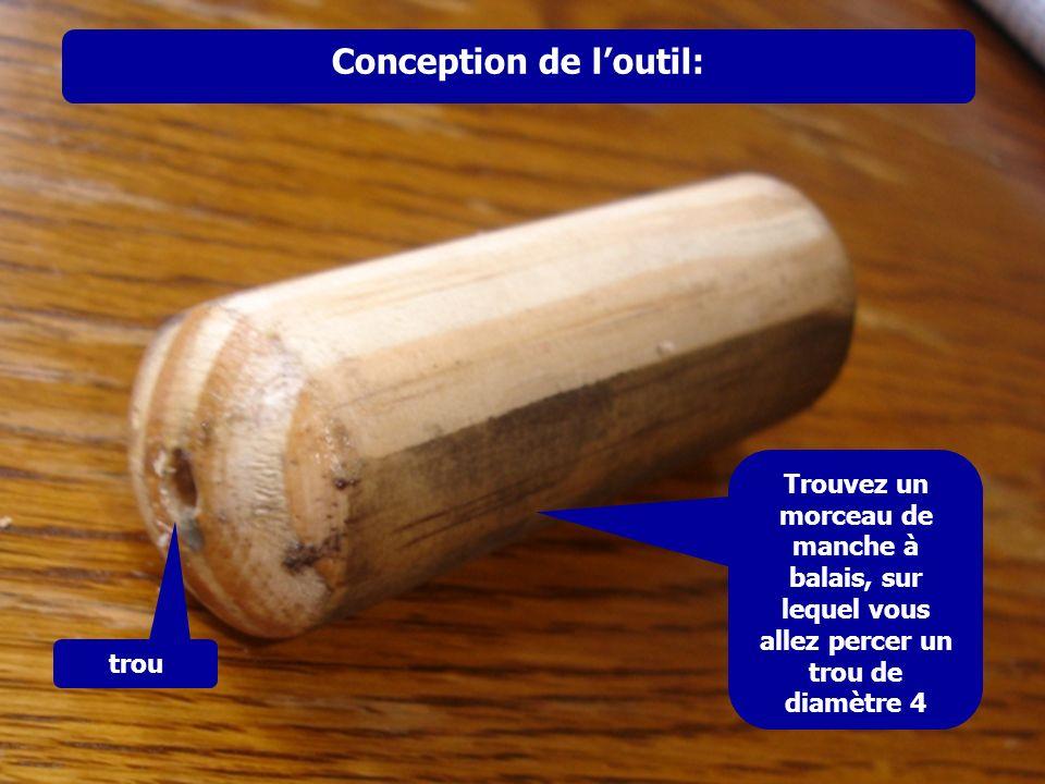 Conception de loutil: Trouvez un morceau de manche à balais, sur lequel vous allez percer un trou de diamètre 4 trou
