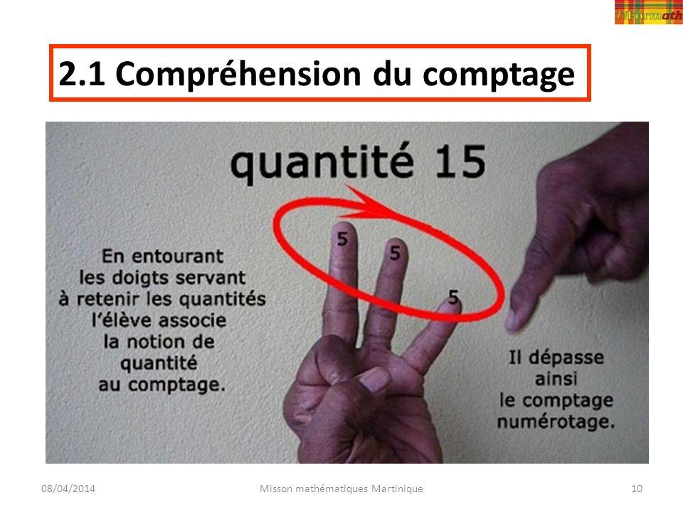 08/04/2014Misson mathématiques Martinique10 2.1 Compréhension du comptage