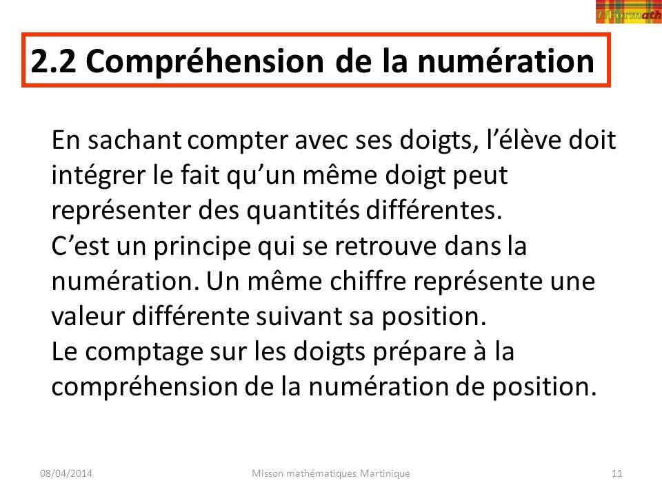 08/04/2014Misson mathématiques Martinique11 2.2 Compréhension de la numération En sachant compter avec ses doigts, lélève doit intégrer le fait quun m