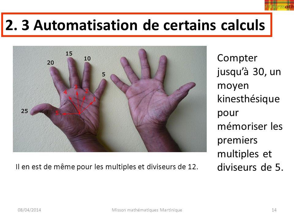08/04/2014Misson mathématiques Martinique14 2. 3 Automatisation de certains calculs Il en est de même pour les multiples et diviseurs de 12. Compter j