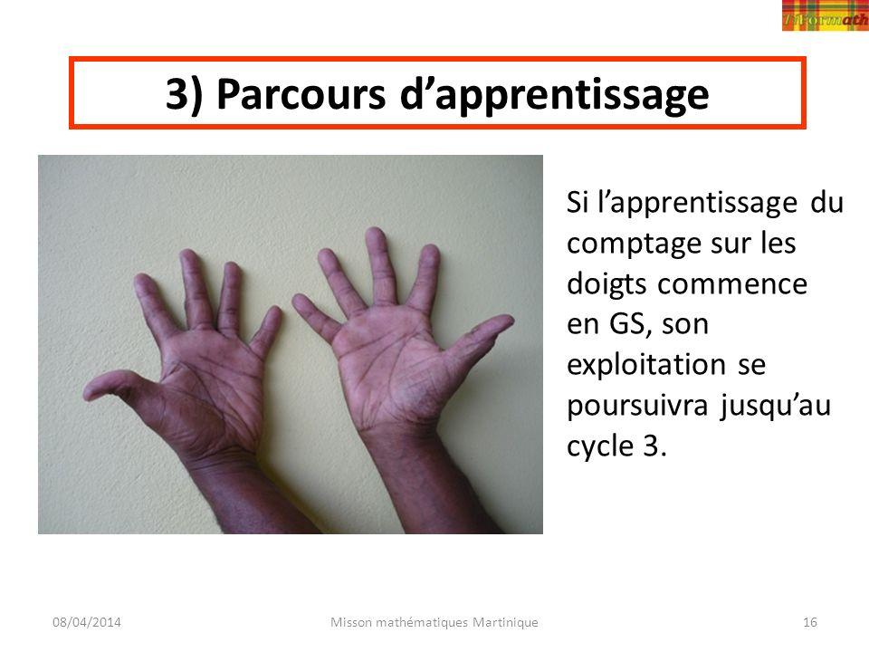 08/04/2014Misson mathématiques Martinique16 3) Parcours dapprentissage Si lapprentissage du comptage sur les doigts commence en GS, son exploitation s