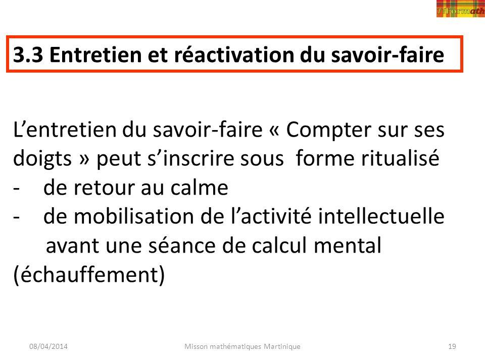 08/04/2014Misson mathématiques Martinique19 3.3 Entretien et réactivation du savoir-faire Lentretien du savoir-faire « Compter sur ses doigts » peut s