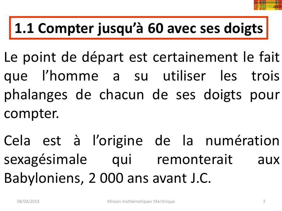 08/04/2014Misson mathématiques Martinique3 Le point de départ est certainement le fait que lhomme a su utiliser les trois phalanges de chacun de ses d