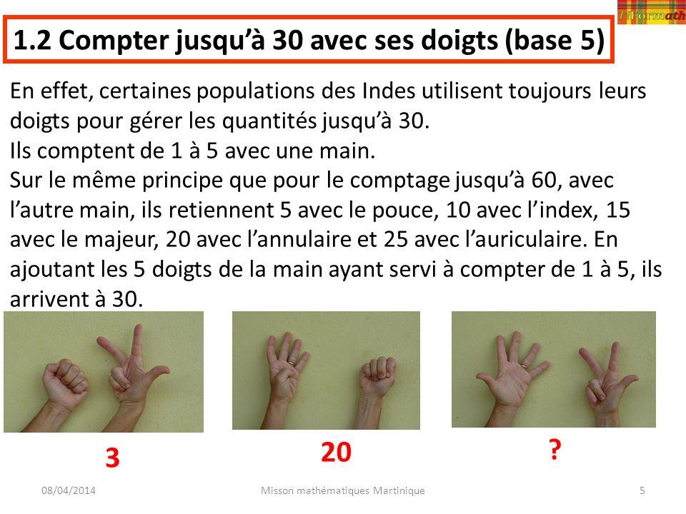 08/04/2014Misson mathématiques Martinique5 En effet, certaines populations des Indes utilisent toujours leurs doigts pour gérer les quantités jusquà 3