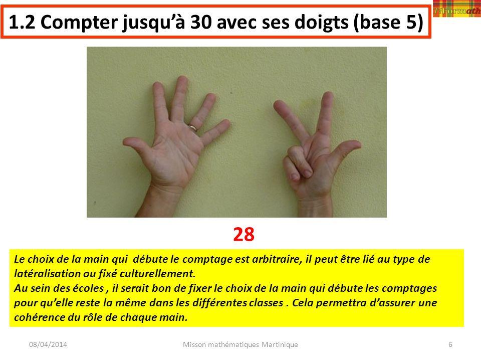 08/04/2014Misson mathématiques Martinique6 1.2 Compter jusquà 30 avec ses doigts (base 5) 28 Le choix de la main qui débute le comptage est arbitraire