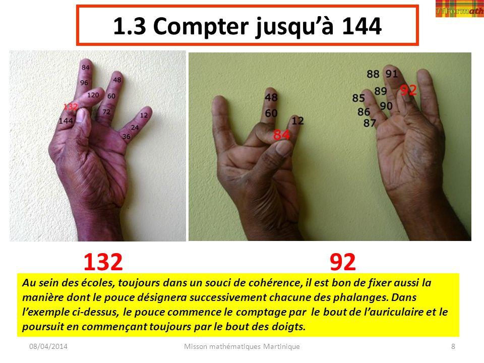 1.3 Compter jusquà 144 08/04/2014Misson mathématiques Martinique8 13292 Au sein des écoles, toujours dans un souci de cohérence, il est bon de fixer a