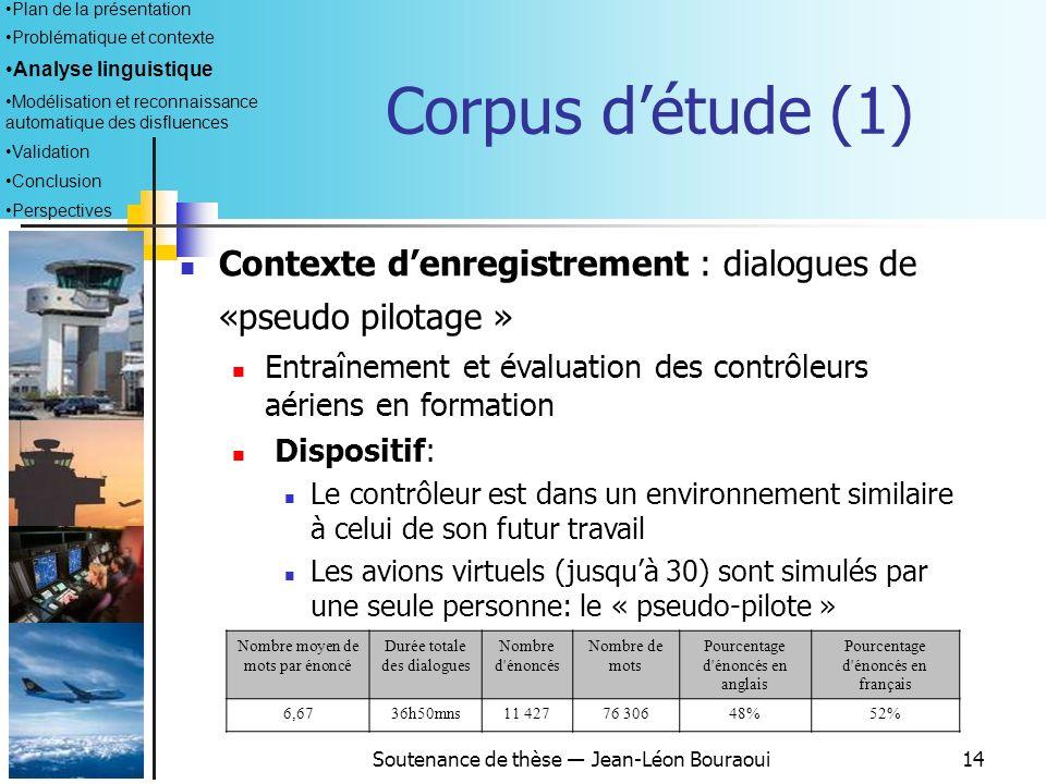 Soutenance de thèse Jean-Léon Bouraoui13 Terminologie adoptée (2) Fragment de mot : un ou plusieurs phonèmes inidentifiables, contrairement aux amorce