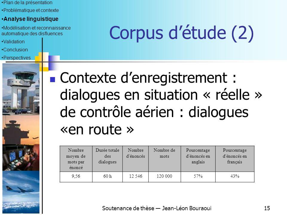 Soutenance de thèse Jean-Léon Bouraoui14 Corpus détude (1) Nombre moyen de mots par énoncé Durée totale des dialogues Nombre d'énoncés Nombre de mots